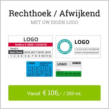 keuringsstickers rechthoek afwijkend met logo